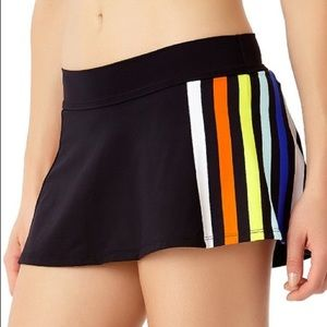 💦ANNE COLE Stripe Out Skirted Bikini Bottom, NWT